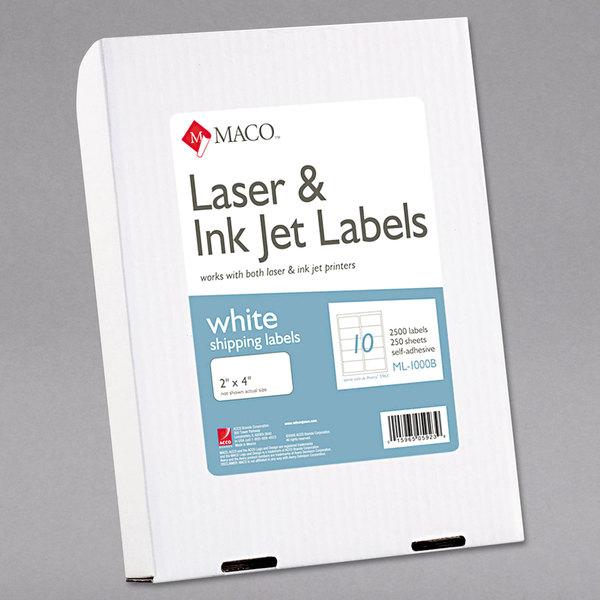 "MACO ML1000B Laser / Inkjet 2"" x 4"" White Shipping and Address Labels - 2500/Box"