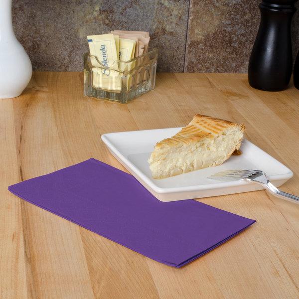 "Purple Paper Dinner Napkins, 2-Ply, 15"" x 17"" - Hoffmaster 180539 - 1000/Case"