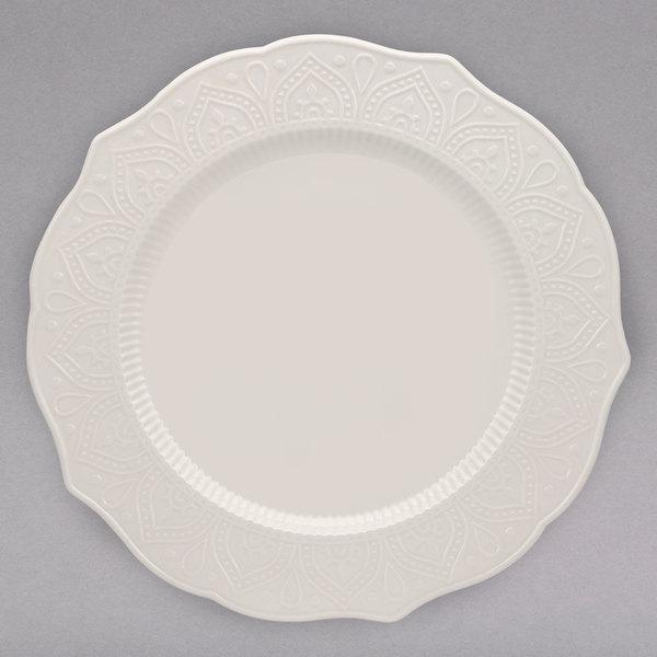 "10 Strawberry Street DHLA-0001 Dahlia 10 1/2"" White New Bone China Dinner Plate - 12/Case Main Image 1"