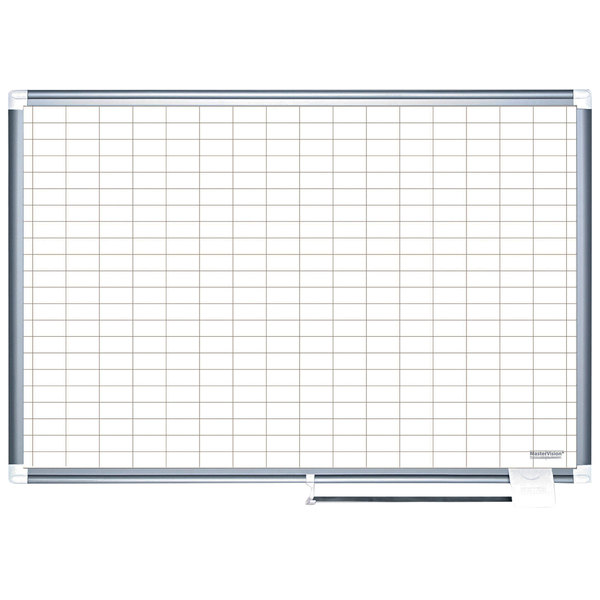 """MasterVision BVCMA2792830A 48"""" x 72"""" White Grid Dry Erase Planning Board with Accessories - 1"""" x 2"""" Grid"""