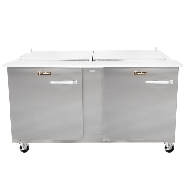 """Traulsen UST6024-LL 60"""" 2 Left Hinged Door Refrigerated Sandwich Prep Table Main Image 1"""