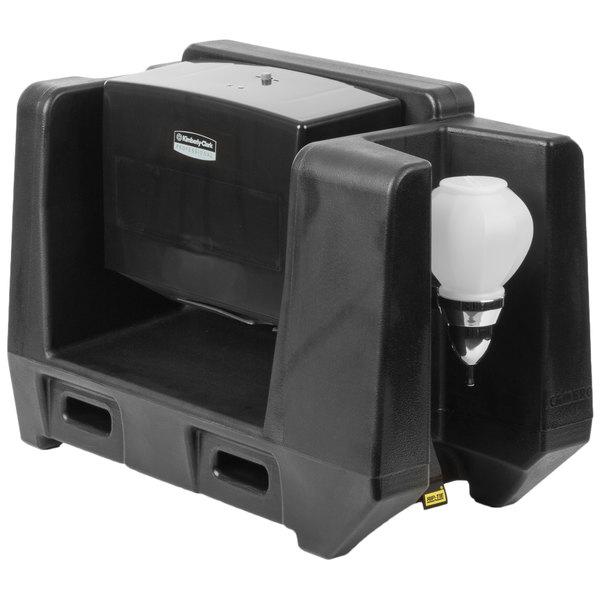 Cambro HWATD Black Hand Washing Station - Multi Fold Towel Dispenser