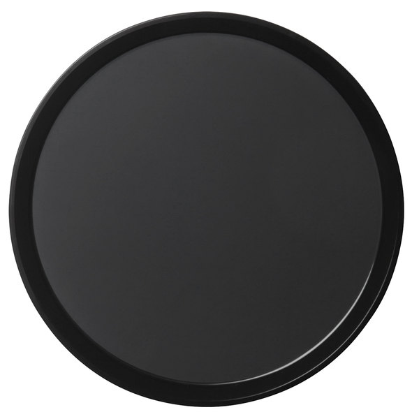 "Cambro PT1600110 Black 16"" Round Polytread Serving Tray"