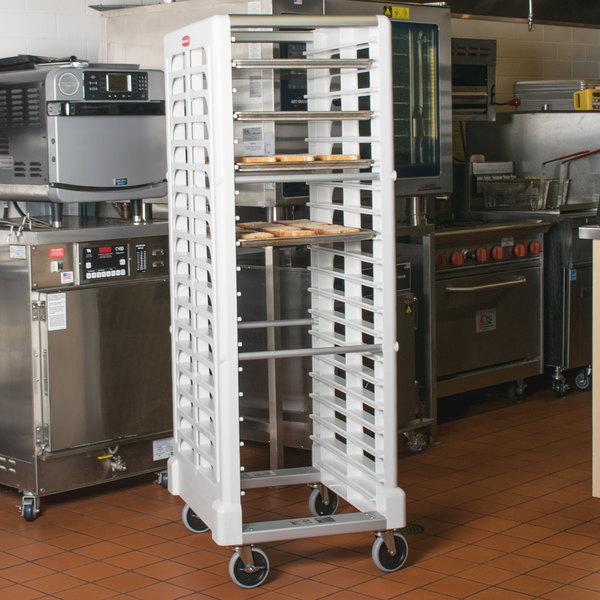 Rubbermaid FG332000WHT ProServe 18 Pan End Load Max System White Bun / Sheet Pan Rack - Unassembled