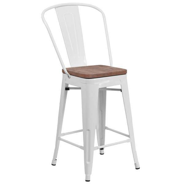 Admirable Flash Furniture Ch 31320 24Gb Wh Wd Gg 24 White Stackable Metal Counter Height Stool With Vertical Slat Back And Wood Seat Gmtry Best Dining Table And Chair Ideas Images Gmtryco