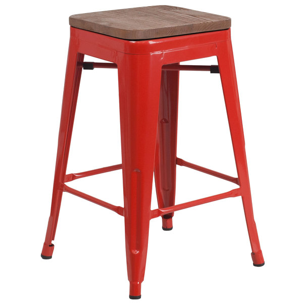 Terrific Flash Furniture Ch 31320 24 Red Wd Gg 24 Red Stackable Metal Backless Counter Height Stool With Square Wood Seat Theyellowbook Wood Chair Design Ideas Theyellowbookinfo