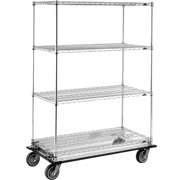 """Metro Super Erecta N566LC Chrome Mobile Wire Shelving Truck with Polyurethane Casters 24"""" x 60"""" x 69"""""""