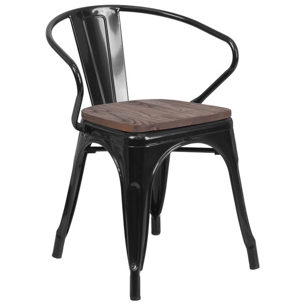 Flash Furniture CH-31270-BK-WD-GG Black Stackable Metal Chair with Arms, Vertical Slat Back, and Wood Seat Main Image 1