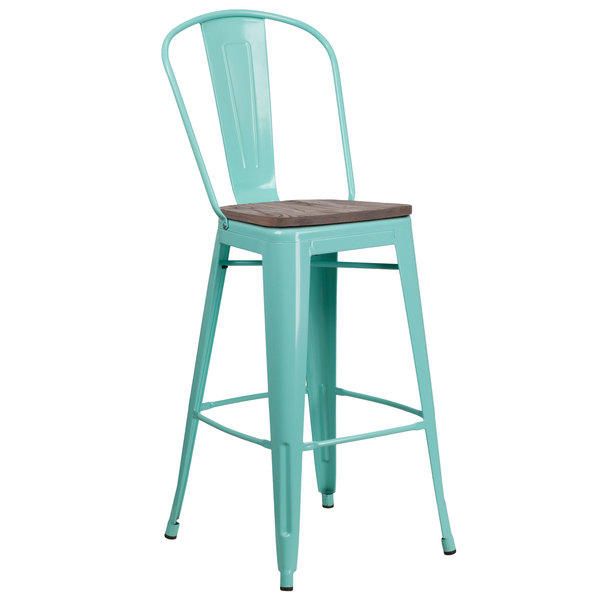 Admirable Flash Furniture Et 3534 30 Mint Wd Gg 30 Mint Green Metal Bar Height Stool With Vertical Slat Back And Wood Seat Onthecornerstone Fun Painted Chair Ideas Images Onthecornerstoneorg