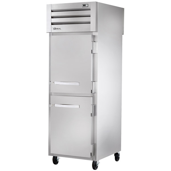 True STR1RPT-2HS-1G Specification Series One Section Pass-Through Refrigerator with Solid Half Front Doors and Glass Rear Door - 31 Cu. Ft.