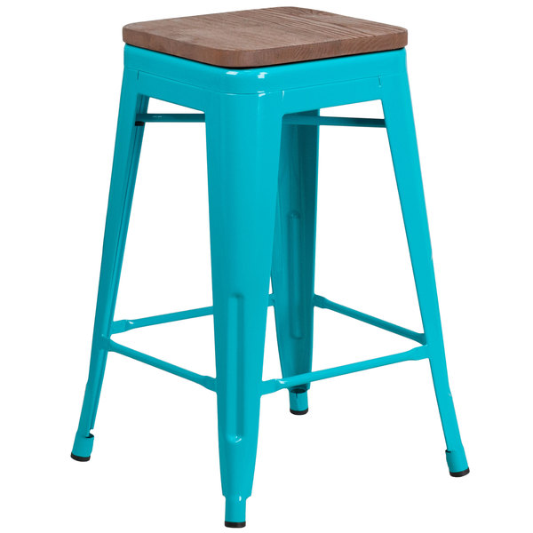 "Flash Furniture ET-BT3503-24-CB-WD-GG 24"" Crystal Teal-Blue Stackable Metal Backless Counter Height Stool with Square Wood Seat Main Image 1"