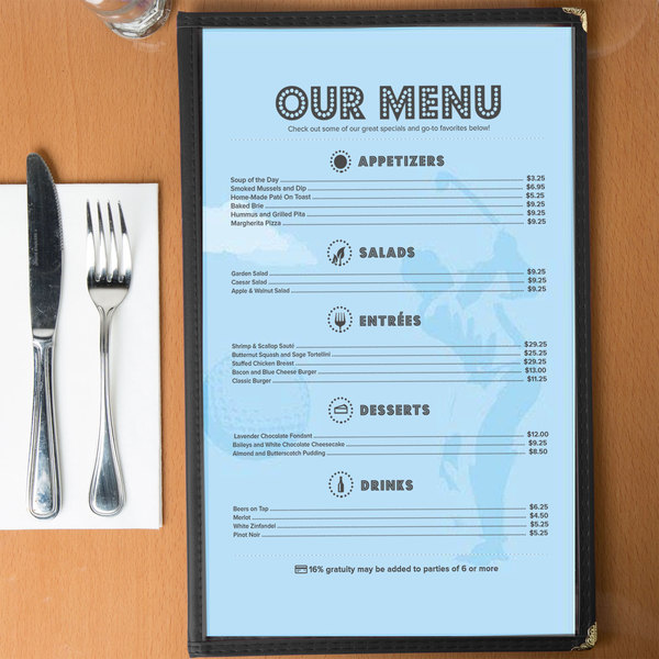 """8 1/2"""" x 14"""" Menu Paper - Country Club Themed Golf Silhouette Design - 100/Pack"""