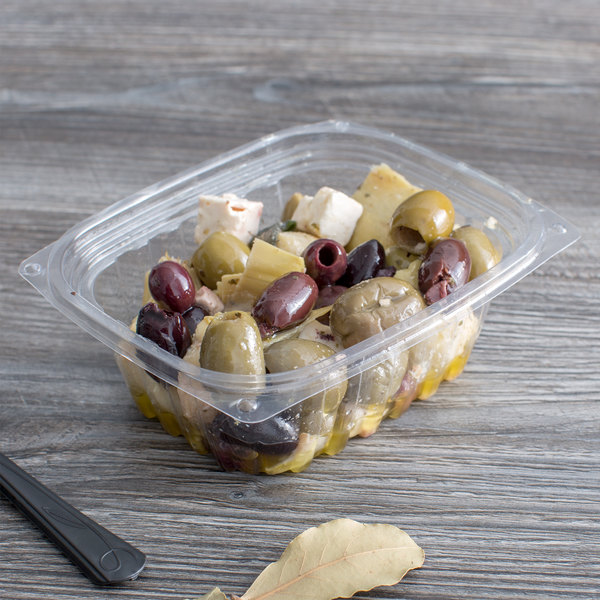 c213d29297b8 Eco Products EP-RC12 12 oz. PLA Plastic Compostable Rectangular Deli  Container and Lid - 300/Case