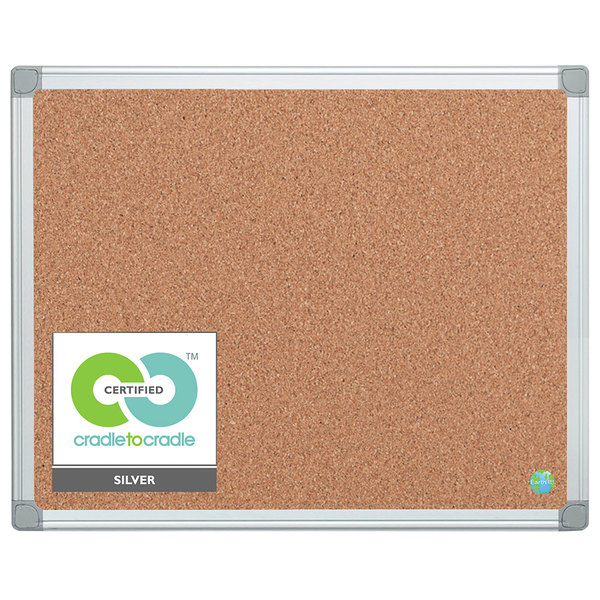"MasterVision CA031790 24"" x 36"" Cork Board with Aluminum Frame and Gray Corners"