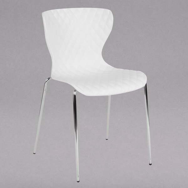 Flash Furniture LF-7-07C-WH-GG Lowell Contemporary White Plastic Stackable Chair Main Image 1