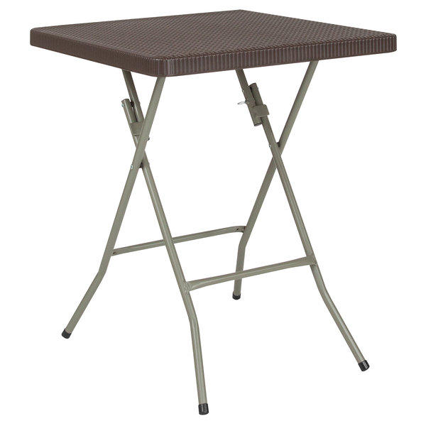 "Flash Furniture DAD-FT60-GG 23 1/2"" Square Brown Rattan Plastic Folding Table Main Image 1"