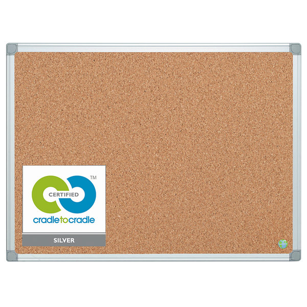 MasterVision CA051790 36 inch x 48 inch Cork Board with Aluminum Frame and Gray Corners