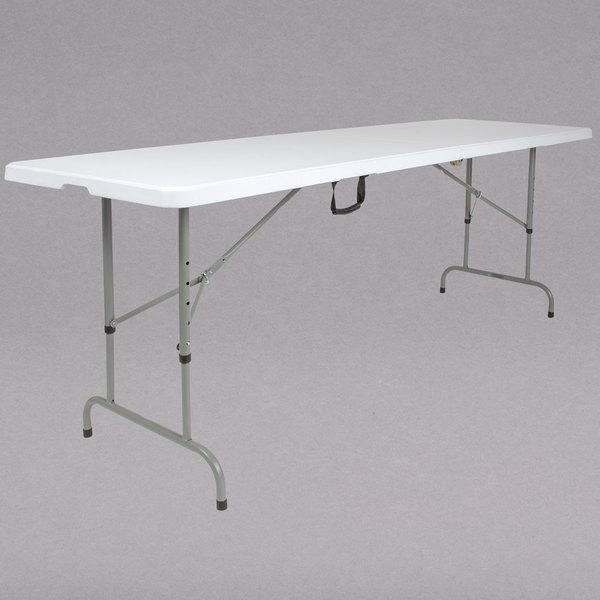 "Flash Furniture RB-3096FH-ADJ-GG 30"" x 96"" Rectangular Height Adjustable Granite White Plastic Bi-Fold Folding Table Main Image 1"