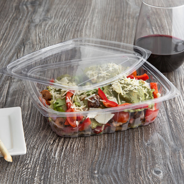 39947797476a Eco Products EP-RC24 24 oz. PLA Plastic Compostable Rectangular Deli  Container and Lid - 200/Case