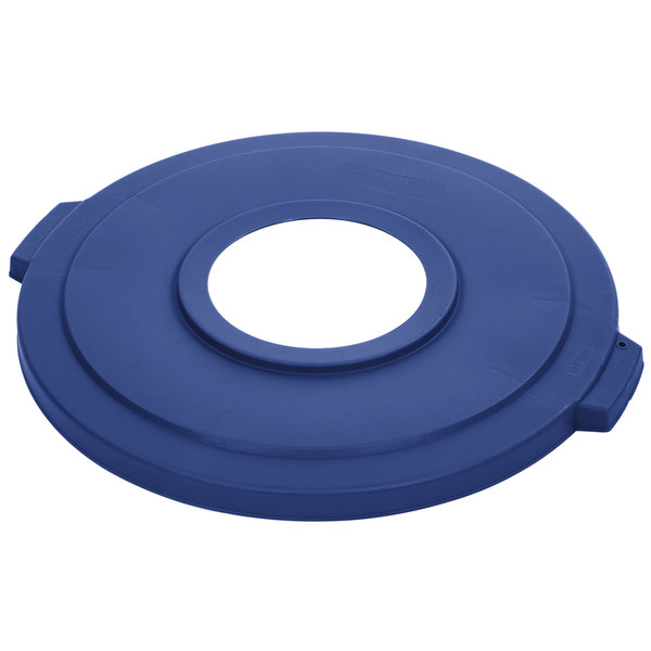 """Carlisle 341033REC14 Blue 32 Gallon Recycling Lid with 8"""" Hole"""