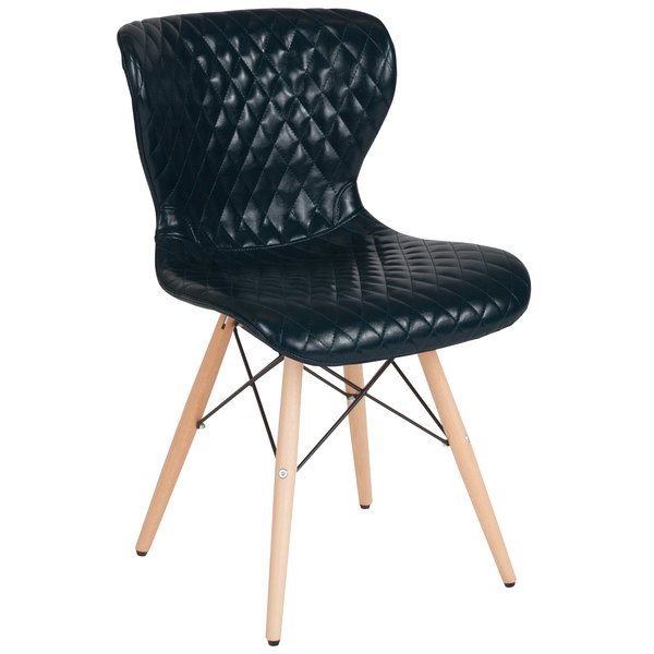 Flash Furniture LF-9-07M-BLU-GG Riverside Contemporary Blue Vinyl Upholstered Chair with Wooden Legs Main Image 1