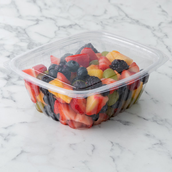 2433c274475a Eco Products EP-RC32 32 oz. PLA Plastic Compostable Rectangular Deli  Container and Lid - 200/Case