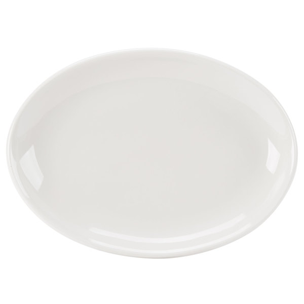 """Homer Laughlin 31300 Empire 11 1/2"""" Ivory (American White) Coupe Oval China Platter - 12/Case"""