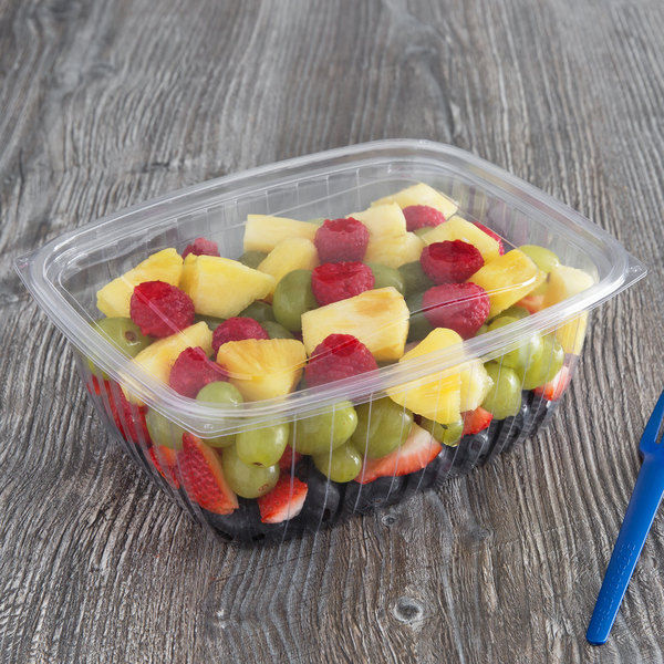 5ba21effde19 Eco Products EP-RC64 64 oz. PLA Plastic Compostable Rectangular Deli  Container and Lid - 200/Case