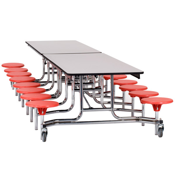 National Public Seating MTS1216-PWPEPC 12' Mobile Plywood Cafeteria Table with Black Powder Coated Frame, ProtectEdge, and 16 Stools