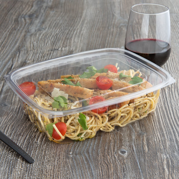 979ffeb89b92 Eco Products EP-RC48 48 oz. PLA Plastic Compostable Rectangular Deli  Container and Lid - 200/Case