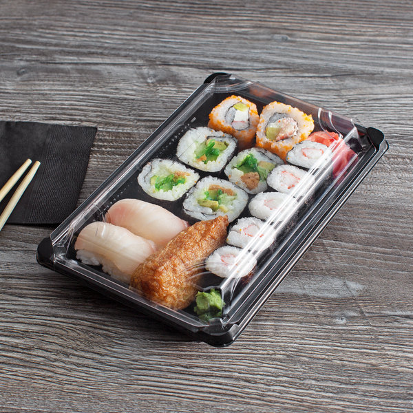 """Eco Products EP-SH3-CPK 6"""" x 9"""" Large Sushi Container with Lid - 600/Case Main Image 4"""
