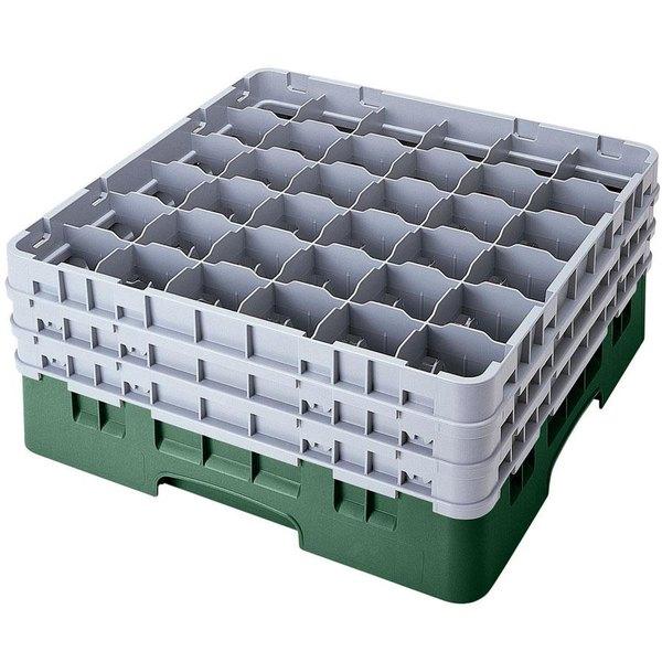 "Cambro 36S1214119 Sherwood Green Camrack Customizable 36 Compartment 12 5/8"" Glass Rack"