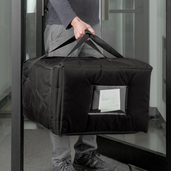 """Cambro GBPP518110 Insulated Black Premium Pizza Delivery GoBag™ - Holds up to (5) 18"""" Pizza Boxes"""