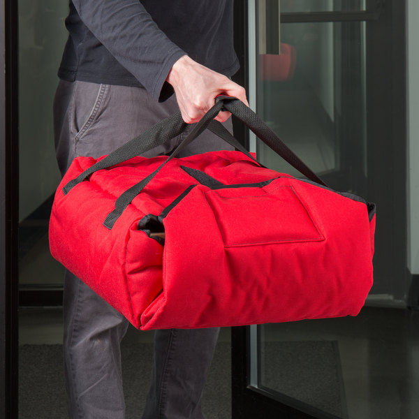 """Cambro GBPP214521 Customizable Insulated Red Premium Pizza Delivery GoBag™ - Holds up to (2) 14"""" Pizza Boxes Main Image 4"""