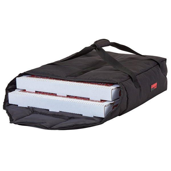 "Cambro GBPP218110 Insulated Black Premium Pizza Delivery GoBag™ - Holds up to (2) 18"" Pizza Boxes"