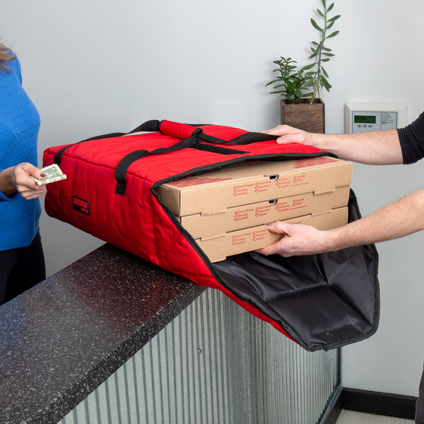 "Cambro GBP220521 Insulated Red Pizza Delivery GoBag™ - Holds up to (2) 20"" or (3) 18"" Pizza Boxes"