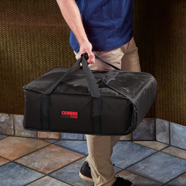 """Cambro GBP216110 Insulated Black Pizza Delivery GoBag™ - Holds up to (2) 16"""" or (3) 14"""" Pizza Boxes"""