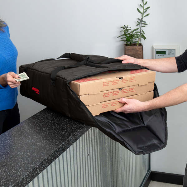 """Cambro GBP220110 Insulated Black Pizza Delivery GoBag™ - Holds up to (2) 20"""" or (3) 18"""" Pizza Boxes"""