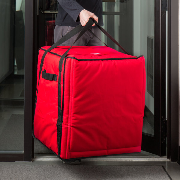 """Cambro GBPP1018521 Insulated Red Premium Pizza Delivery GoBag™ - Holds up to (10) 18"""" Pizza Boxes"""