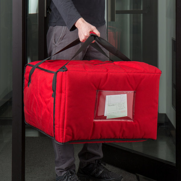 "Cambro GBPP518521 Customizable Insulated Red Premium Pizza Delivery GoBag™ - Holds up to (5) 14"" Pizza Boxes Main Image 4"