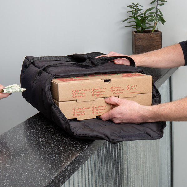 """Cambro GBPP212110 Insulated Black Premium Pizza Delivery GoBag™ - Holds up to (2) 12"""" Pizza Boxes"""