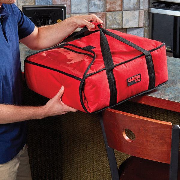 """Cambro GBP216521 Insulated Red Pizza Delivery GoBag™ - Holds up to (2) 16"""" or (3) 14"""" Pizza Boxes"""
