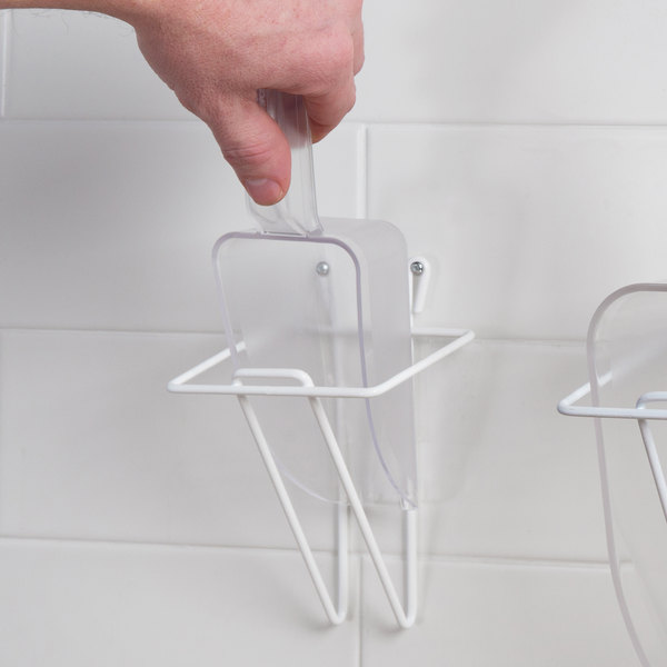 Choice 12 oz. Clear Plastic Utility Scoop and Small Wall Mount Holder