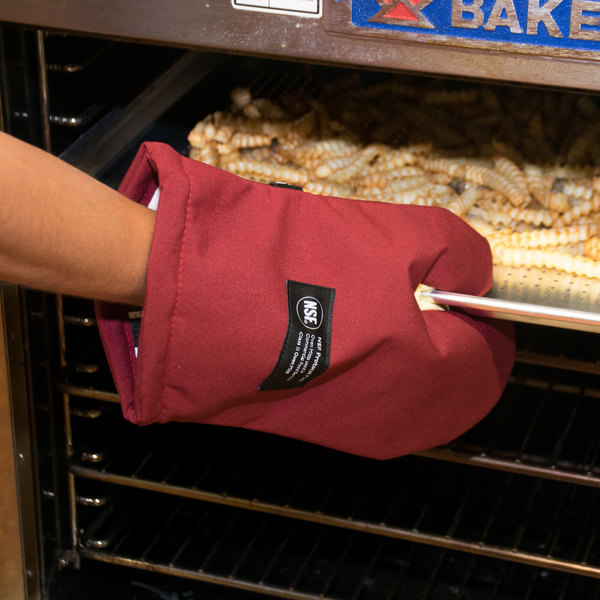 "San Jamar KT0212 Cool Touch 13"" Flame Red Conventional Oven Mitt with Kevlar®"