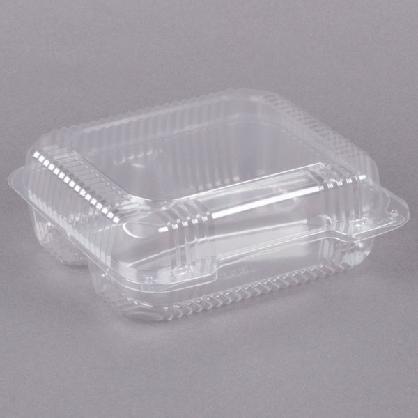 Dart C51UT3 StayLock 8 1/4 inch x 7 3/4 inch x 3 inch Clear Hinged Plastic Medium 3-Compartment Container - 250/Case
