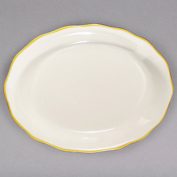 """CAC SC-14G Seville 12 5/8"""" x 9 1/4"""" Ivory (American White) Scalloped Edge China Platter with Gold Band - 12/Case"""
