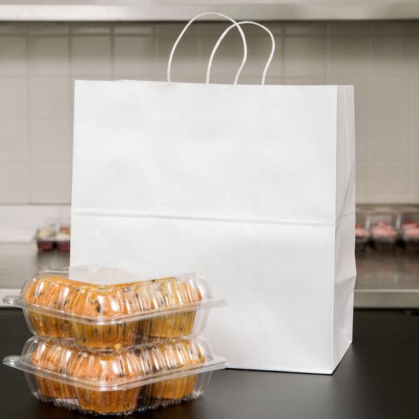 "Duro Royal White Paper Shopping Bag with Handles 14"" x 8"" x 14 3/4"" - 200/Bundle Main Image 3"