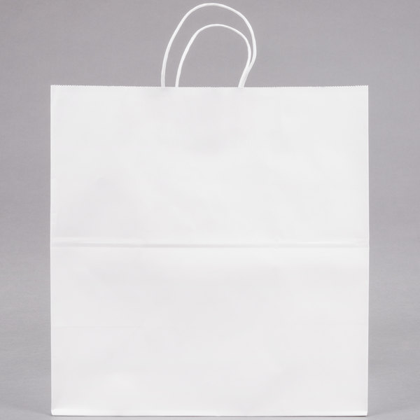 Duro Royal White Paper Shopping Bag with Handles 14 inch x 8 inch x 14 3/4 inch - 200/Bundle