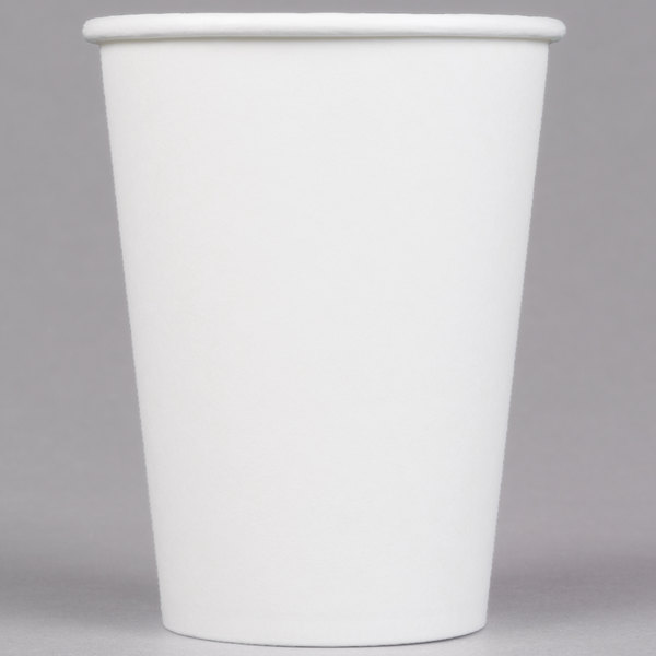 Choice 12 Oz White Poly Paper Hot Cup 50 Pack