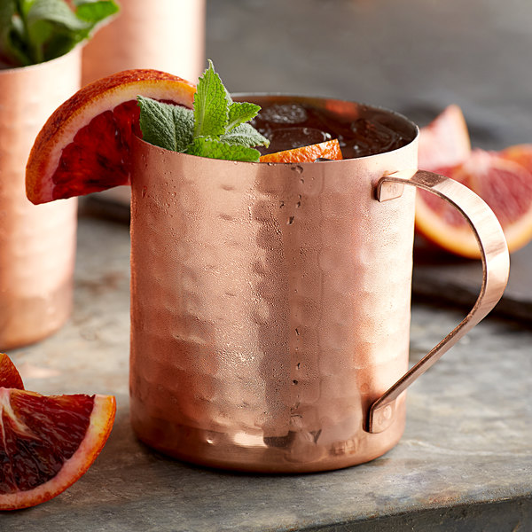 Acopa Alchemy 14 oz. Straight Sided Hammered Copper Moscow Mule Mug - 12/Pack Main Image 2